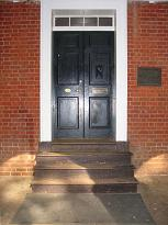 front doors of pavilion c, jefferson hall, uva