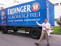 Me in front of the big Alcohol-Free Erdinger truck outside Munich