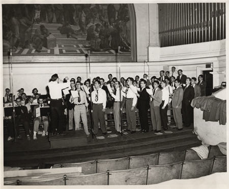 Virginia Glee Club recording first Songs of the University of Virginia, Old Cabell Hall, 1947