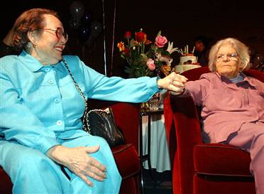 "phyllisLyonDelMartin: Lesbian activists Phyllis Lyon and Del Martin, together for 51 years, after their marriage in San Francisco. Photo by Marcio Jose Sanchez (AP). From the article <a href=""http://www.msnbc.msn.com/id/4351828"">Wedded Bliss</a> on MSNBC/Newsweek."