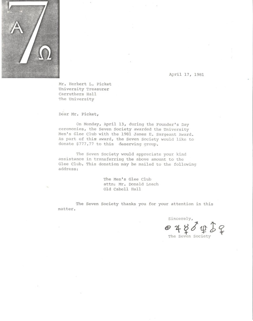 Letter from the Seven Society announcing a donation to the Glee Club tour fund