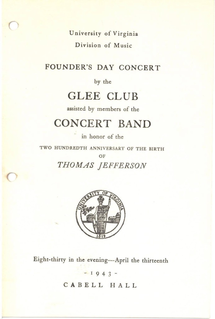 Concert program from the 1943 premiere of Randall Thompson's Testament of Freedom