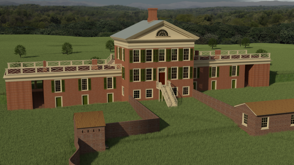 Rendering of rear of Pavilion VI, JUEL project, University of Virginia